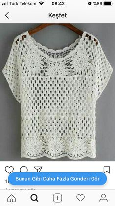 """Shop Hollow Out Crochet Top - White online. SheIn offers Hollow Out Crochet Top - White & more to fit your fashionable needs."", ""We are a crochet sto Pull Crochet, Crochet Shirt, Crochet Cardigan, Crochet Tops, Hat Crochet, White Crochet Top, Free Crochet, Crochet Baby Blanket Sizes, Crochet Baby Hat Patterns"