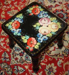 Купить Детская табуретка под Жостово - комбинированный, детский стульчик, распиная мебель, Роспись по дереву