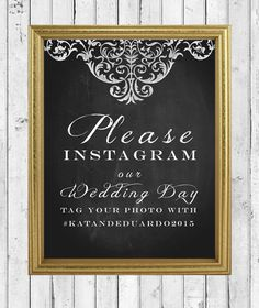 darling instagram sign to use at your wedding! #sign #instagram #wedding #chalkboard https://www.etsy.com/listing/181123984/chalkboard-shabby-chic-wedding-instagram?ref=shop_home_active_1