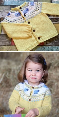 Knitting Pattern for Princess Charlotte Yellow Sheep Cardigan - Inspired by the cardigan Princess Charlotte wore in her 2nd birthday portrait taken by her mother, the Duchess of Cambridge, this sweater features a colorwork yoke with sheep motifs. Sizes 6-12 months or 12-24 months. DK weight. Designed by nicolaluke.