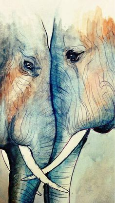 Radiantoptimism I Felt Like Messing Around With Watercolors Some Began A Simple Ballpoint Pen Sketch Of Elephants In My Moleskine And Painted Ove