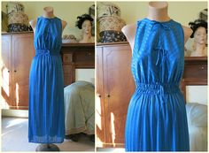Vintage Teal Striped Nylon Nightgown with Bows by dandelionvintage, $20.00