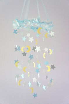 Moon & Stars Nursery Mobile- Nursery Decor, Baby Shower Decor, Baby Gift