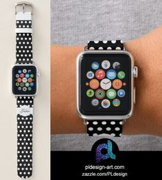 Personalize Trendy Black and White polka dots pattern Monogram Apple Watch Band by #PLdesign #accessories #fashion #style @zazzle