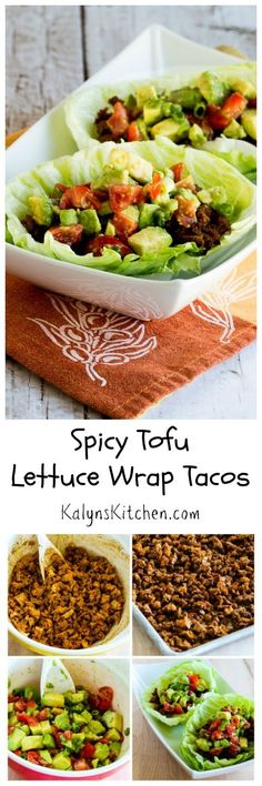 "Spicy Tofu Lettuce Wrap Tacos are delicious; you'll be amazed by the method used here to turn tofu into taco ""meat."" And these tasty lettuce wrap tacos with tofu are Low-Carb, Vegan, and Gluten-Free. [from KalynsKitchen.com]"