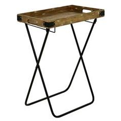 METAL/WOODEN TRAY-TABLE ARTHUR IN BROWN COLOR 51Χ33Χ69
