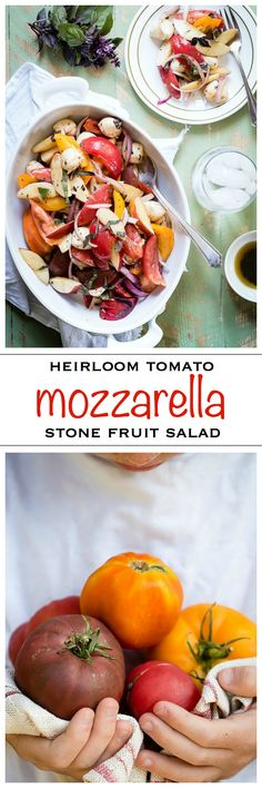 Juicy ripe heirloom tomatoes mixed with nectaplum fruit and small mozzarella balls. The whole salad is dressed in a balsamic olive oil vinaigrette | Foodness Gracious