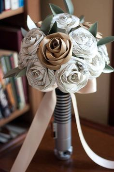 If I was going to do fake flowers, it would totally be this. I would just ask for a blue paper accent instead of the brown.