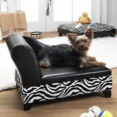 Storage Pet Bed In Black And Zebra.