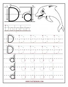 Free Printable letter D tracing worksheets for preschool. Free learning to write worksheets for preschoolers. Letter D for Dolphin worksheets