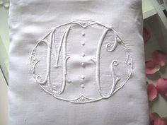 Beautiful Vintage French Metis Linen Sheet with super MOnogram MC