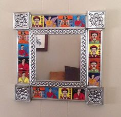 These colorful pieces will make the perfect accent piece to any room. Both vibrant and bold, a fine representation of Mexican folk art. This beautiful tile mirror celebrates Frida Kahlo and the beautiful artwork she left as a legacy.