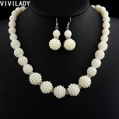 VIVILADY African Handmade Simulated Pearl Beads Jewelry Set