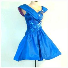 The BLINDING BLUE Dress Vintage 1980's Glamour Dress Sequin Floral Short Vintage Prom Gown Dancing Dress Size 2/4 XS to Small by TwoVintageLadies on Etsy