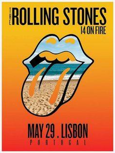 Lisbon Portugal - Rolling Stones - Tour Posters Europe 2014 - 14 On Fire Rolling Stones Logo, Rolling Stones Concert, Vintage Concert Posters, Vintage Posters, Pop Posters, Event Posters, Music Posters, Concert Rock, Rollin Stones