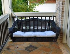 Portside Porch Swing - Dark Roast - No Cushion. All-weather resin wicker. Unlike regular wicker, it is water, UV, crack, and split resistant. Powder coated for extra weather protection. Porch Swing Cushions, Wicker Porch Swing, Patio Swing, Outdoor Cushions, Porch Swings, Swing Chairs, Resin Wicker Patio Furniture, Patio Furniture Sets, Outdoor Furniture