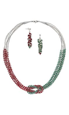 Multi-Strand Necklace and Earring Set with Swarovski Crystal Beads and Sterling Silver Beads - Fire Mountain Gems and Beads