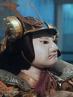 Closeup of Minamoto no Mitsunaka Edo Period 1770 CE Japan Painted terracotta head and hands brocade fabric lacquer and metal armor (3) by mharrsch, via Flickr