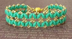 Linda's Crafty Inspirations: Bracelet of the Day: Bandwidth Bracelet - Turquoise & Gold