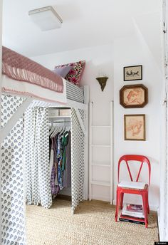 While you don't have to go to the extreme of lofting your bed high enough to fit a closet itself underneath, a couple of smaller risers will really give you options. Look for coordinated baskets that work with the room's decor scheme and physically fit in the space.