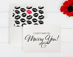 """customizable """"I Can't Wait to Marry You"""" Card with Crystal Accent -  Color and Envelope Liner Options"""