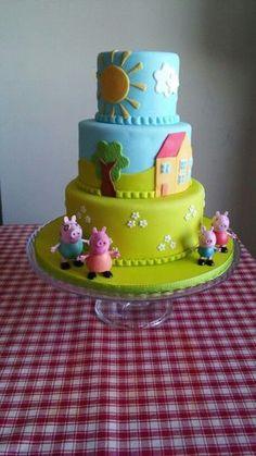 Peppa Pig Cake to Ana Paula Tortas Peppa Pig, Bolo Da Peppa Pig, Peppa Pig Birthday Cake, Birthday Cake Girls, 3rd Birthday, Birthday Ideas, Aniversario Peppa Pig, Cupcake Cakes, Pig Cakes