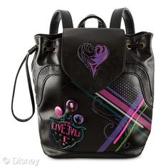 Disney Descendants Backpack Tote: Tempting tote/bThe Descendants have got your back with this faux leather fashion tote carried like a backpack. Adjustable straps, drawstrap top, and magnetic flap add a crafty convenience to the day. The Descendants, Descendants Pictures, Tote Backpack, Leather Backpack, Rucksack Bag, Tote Bag, Black Backpack, Zeina, Cameron Boyce