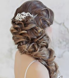 glamorous side swept wedding hairstyle; Click to see more details. via Websalon Wedding