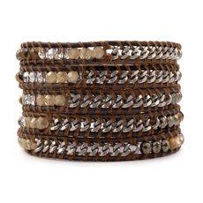 Abalone Mix Chain Wrap Bracelet on Natural Grey Leather
