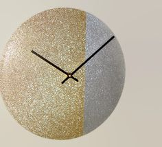 SILENT Gold Glitter Wall Clock 10 or 12 Inch Wall by makingtimetc