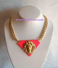 Fleetwood Coop D'Ville- Lion Head Pendant Necklace. $55.00, via Etsy.