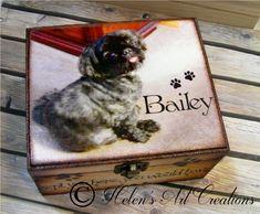 Pet Memorial Box Pet Keepsake Box Dog Urn by HelensArtCreations