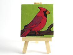 Still Life Oil Painting - Red Cardinal on Branch by desertvalleystudio, $35