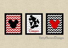 Set of 3 Mickey Mouse Chevron Custom Name Printable Wall Art by FortySevenDesign, $8.00