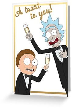 A toast to you from Rick and Morty™. Rick And Morty, Kraft Envelopes, Simple Art, Transparent Stickers, Glossier Stickers, Card Sizes, Sell Your Art, Finding Yourself, Toast