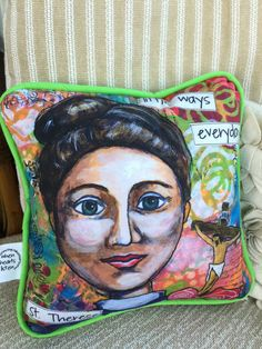 St. Therese therese of lisieux 12x12 pillow by WhenHeartsListen