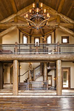 Luxury Mountain Homes Design decorating before and after interior home design decorating house design Log Cabin Living, Log Cabin Homes, Log Cabins, Rustic Staircase, Staircase Design, Wood Stairs, Railing Design, House Stairs, Log Cabin Kitchens