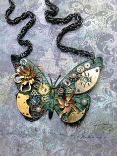 Steampunk Butterfly Necklace -