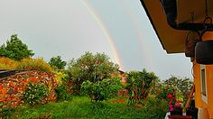 Beautiful double rainbow in my garden.  Great inspiration moment!