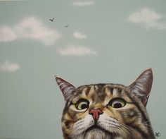 Etsy の Curious Cat by VictoriaColemanArt