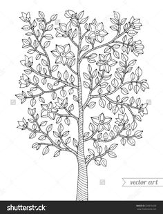 Amazing Doodle Art Tree Challenging Coloring Pages Free