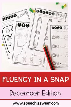 December Fluency In a Snap features no prep games and activities for stuttering! These are great for Christmas themed speech therapy sessions and provide students who stutter with fun and engaging fluency enhancing activities! | Speech is Sweet Speech Language Therapy, Speech Therapy Activities, Speech And Language, Christmas Speech Therapy, Therapy Ideas, Christmas Themes, Teacher Pay Teachers, Literacy, December