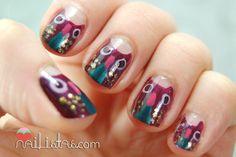uñas decoradas con búhos // manicura con animales
