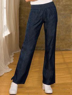 Smocked Waistband Pant  #Smocked #Waistband #Pant New Blue, Womens Scrubs, Back Patch, Cotton Lights, Smocking, Legs, Denim, My Style, Indigo Blue
