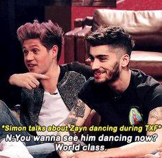 Niall talks about Zayn's dancing (gif). :)