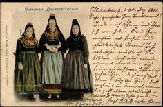 Ansichtskarte / Postkarte Hessische Bauernmädchen in Volkstrachten, Röcke, Hüte #Marburg #evangelisch