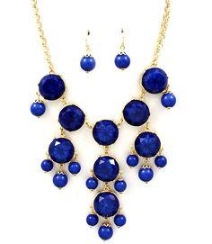 Bubble Necklace & Earrings Set Bib Designer Style Sapphire Blue Beads Gold Chunky Fashion Statement