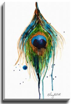 Peacock Feather by Kelsey McNatt Painting Print on Gallery Wrapped Canvas