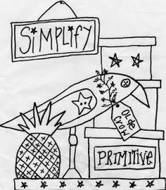 Tanyas Prim Thyme Designs Journal: New Free Prim Crow Stitchery!!!!!!