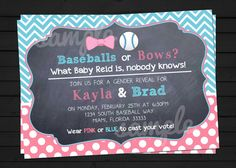 Baseballs OR Bows Western Style Gender Reveal Invitation Digital File YOU-PRINT on Etsy, $11.75